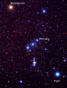 The constellation Orion, with Rigel, Betelgeuse, and Mintaka labeled.