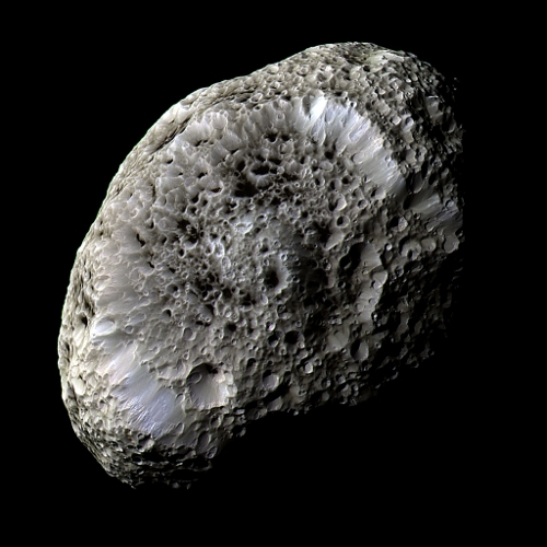 Saturn's strange moon Hyperion, one of the largest irregularly-shaped objects in the Solar System.