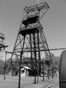 The headframe of the Soudan Iron Mine, which still operates the lift cage descending a half-mile below ground. The CDMS experiment is located at the bottom of this mine. I made this photograph look old because I felt like it.