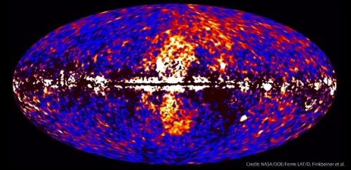 New evidence supports the idea that the bubbles emanating from the center of the Milky Way were probably made by star formation. Much ealier speculation credited the black hole in the galaxy's nucleus, an idea I promoted. [Credit: Fermi gamma ray observatory/NASA]
