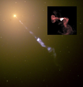 The large image shows the jet streaming from the center of the galaxy M87, in visible light. The inset zooms in on the black hole, and shows the swirling gas around the galaxy's core in radio light. M87 is one of the largest galaxies known, and has the largest-known black hole, estimated around 6.6 billion times the mass of the Sun. [Credit: J. A. Biretta et al./Hubble Heritage Team (STScI /AURA)/NASA, NRAO/AUI/NSF/W. Cotton (inset)]
