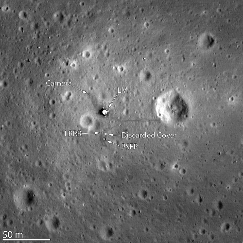 The Apollo 11 landing site, as seen from Moon orbit by the Lunar Reconnaissance Orbiter (LRO). Let what you're seeing sink in for a moment: the image includes the base of the Lunar Module, the camera they left behind on the Moon's surface, and the actual tracks left by Armstrong and Buzz Aldrin. [Credit: NASA/U. of Arizona]