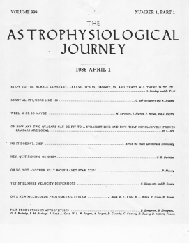 The fake table of contents from the April 1, 1986 issue of the Astrophysical Journal. (Click for larger version.)