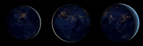 The Black Marble: three views of Earth at night. Left: the Americas; center: Europe, Africa, the Middle East; right: Asia and Australia. [Credit: NASA Earth Observatory]