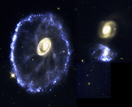 Approximately 200 million years before this image, a smaller galaxy burst through the disk of the blue ring of galaxy at the left. The result is the Cartwheel Galaxy. The blue light at the galaxy's rim marks the formation of new stars, catalyzed by the collision. [Credit: NASA/ESA/K. Borne (STScI)]
