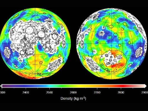 A map of Earth's Moon, using gravitational data from the twin GRAIL spacecraft. The GRAIL mission ends today, when the spacecraft will be deliberately crashed into a lunar mountain. [Credit: NASA/JPL-Caltech/ IPGP]