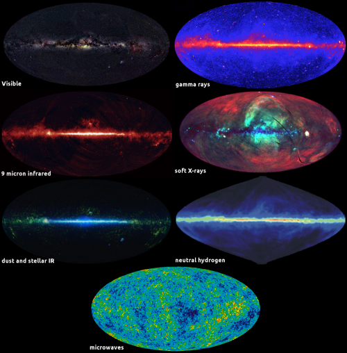 The multicolored Universe. Click for the larger version. [Credit: moi (mosaic); see below for others]