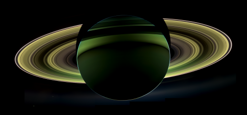 Since Saturn is farther from the Sun than Earth, we never see it in eclipse: when it blocks the Sun. However, the Cassini spacecraft sometimes passes in such a way that the planet is between it and the Sun, which is the source of today's image. [Credit: NASA/JPL-Caltech/SSI]