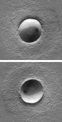 A well-known optical illusion can be produced from images of craters or similar structures. The top and bottom photo are the same picture, just oriented differently. [Credit: I don't remember where I got this image! If anyone can identify it, please let me know]