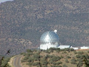 The Hobby-Eberly Telescope (HET) at McDonald Observatory in western Texas, seen from an adjacent mountain. [Credit: moi]