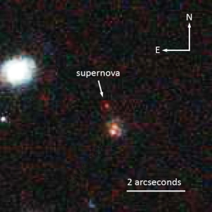 A supernova called Mingus, after the jazz composer and bassist. The supernova was recently announced to be the most distant white dwarf (Type Ia) supernova yet discovered. [Credit: Space Telescope Science Institute]