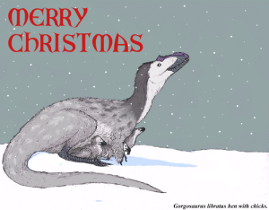 Christmas card depicting a Gorgosaurus hen and chicks in the snow. [Credit: TheMorlock]