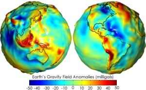 Eastern and western hemisphere geoids: variations of the Earth's gravitational influence, as measured by the GRACE satellites. The lumps and colors both indicate deviations from the average, with blue indicating slightly stronger gravity, and red indicating slightly weaker. [Credit: NASA/EOS]