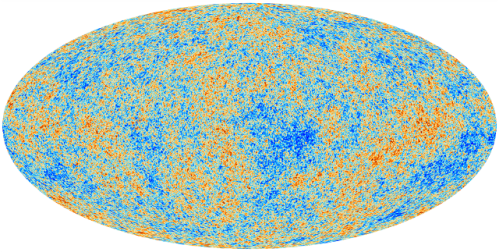 The Planck CMB map, in its full glory. As with the equivalent WMAP image, the colors represent tiny fluctuations (measured in millionths of a degree) around the 2.7 Kelvin temperature of the cosmos. [Credit: ESA/Planck Collaboration/D. Ducros]