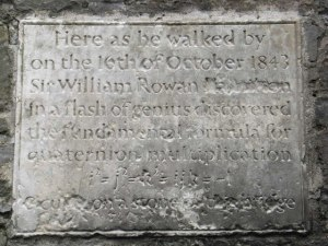 The plaque on Brougham Bridge in Dublin, Ireland commemorating the discovery of quaternions by William Rowan Hamilton. [Credit: Geograph.org.uk ]