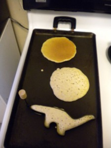 A pancake shaped like a sauropod.