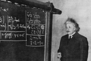 Albert Einstein in Pittsburgh, 1934. Note that the blackboard is covered with equations of relativity, which are its most accurate expression. [Credit: Pittsburgh Sun-Telegraph/Dwight Vincent and David Topper]