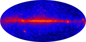 Map of the sky in gamma-ray light, by the Fermi Gamma-Ray Observatory's Large Area Telescope (LAT). [Credit: NASA/DOE/International LAT Team]