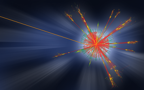 Simulation of a collision at the LHC producing a mini-black hole. No such event has occurred so far, but what if we could make a tiny black hole in the lab? [Credit ATLAS Experiment © 2013 CERN]