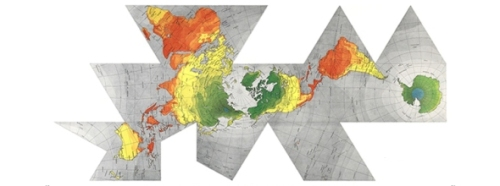 One version of the Dymaxion map, which broke away from the strict icosahedral structure, while keeping the basic idea. [Credit: Buckminster Fuller Institute]