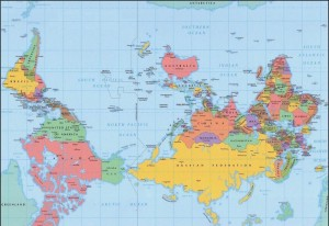 "An ""upside-down"" world map, placing south at the top. Australians and southern Africans no doubt are asking ""what's wrong with this?"""