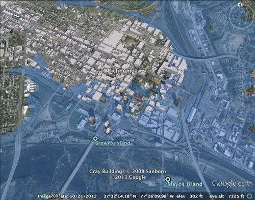"The ""flooding"" of Richmond, Virginia: using a naive model of ocean-level rise, 45 meters of flooding would wipe out many of the lower lying areas in the city where I live."