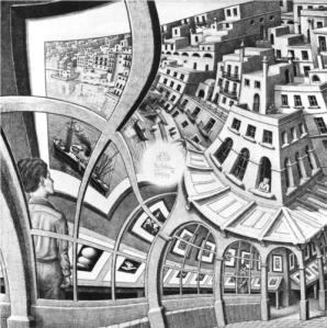 """Print Gallery"" by M.C. Escher blends optical illusions together, but there's a place where the images can't fit together consistently: the very center, where Escher cheated by putting his signature."
