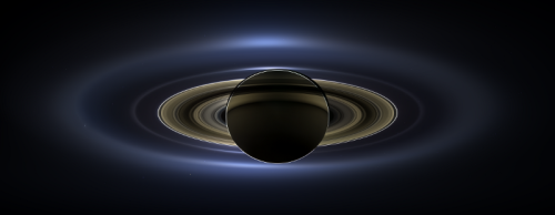 The Day Earth Smiled: a mosaic of images from the Cassini probe when it passed beyond Saturn so that the planet eclipsed the Sun. [Credit: NASA/JPL-Caltech/SSI]