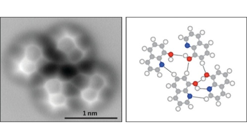 Hydrogen bonds as imaged by an atomic force microscope. [Credit: Science]