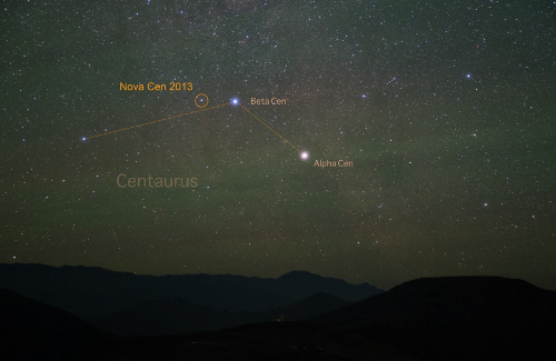 It may look like a star, but Nova Centauri 2013 (visible briefly in the Southern Hemisphere) is actually a bright burst of light from the surface of a white dwarf. [Credit: Yuri Beletsky (Las Campanas Observatory, Carnegie Institution)]