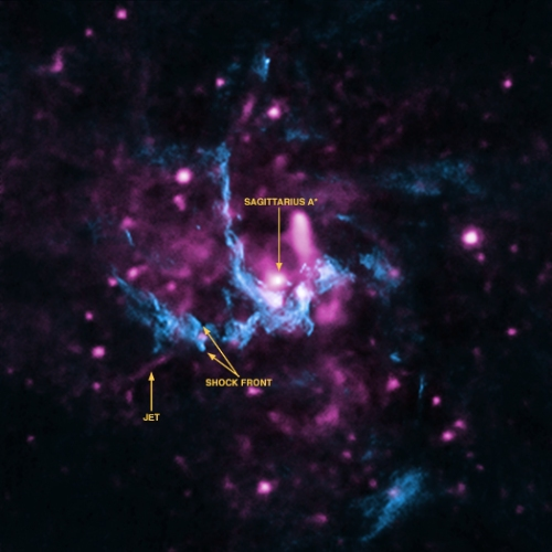 The Milky Way's black hole, known as Sagittarius A*, in radio (blue) and X-ray (magenta) light. The radio data shows a strong hint of a jet emanating from the black hole. [Credit: X-ray: NASA/CXC/UCLA/Z.Li et al; Radio: NRAO/VLA]