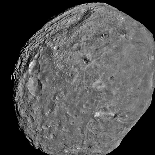 The asteroid Vesta, as seen by the Dawn space probe. Vesta is the second largest asteroid in the Solar System. [Credit: NASA, JPL-Caltech, UCLA, MPS, DLR, IDA]
