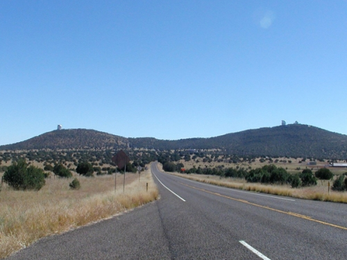 The road leading to McDonald Observatory in western Texas. The dome on the left houses the Hobby-Eberly Telescope (HET), which I visited for my now-defunct book. [Credit: moi]