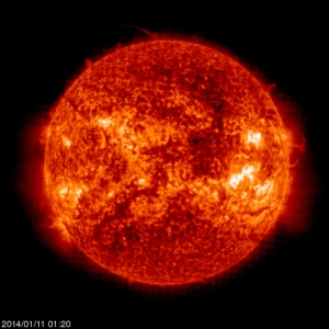 Ladies and gentlemen, the Sun! This ultraviolet image was taken on the morning of January 11, 2014 by the Solar and Helioseismographic Observatory (SoHO). [Credit: ESA/NASA]