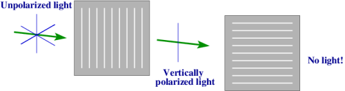 If you add a second polarizing filter with perpendicular orientation to the first, no photon can pass through both. [Credit: moi]