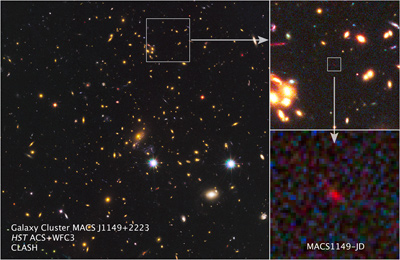 The inset image at bottom right is one of the most distant galaxies in the Universe. Gravity from the galaxy cluster in the largest image magnified the light from that galaxy via gravitational lensing, making it barely visible. [Credit: NASA, ESA, W. Zheng (JHU), M. Postman (STScI), and the CLASH Team]