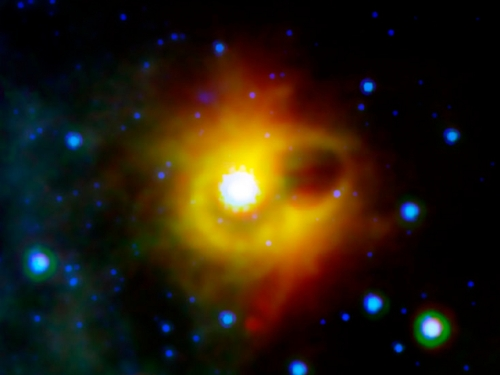 The ring of dust around a magnetar: a neutron star with an extraordinarily strong magnetic field. [Credit: NASA/JPL-Caltech/S. Wachter (Spitzer Science Center)]