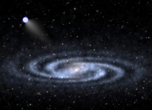 An utterly ridiculous artist's impression of a hypervelocity star getting kicked out of the Milky Way. [Credit: Ben Bromley, University of Utah]
