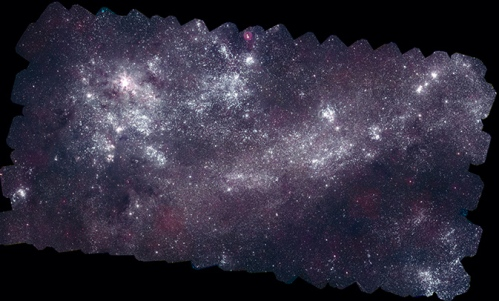 The Large Magellanic Cloud (LMC), the largest satellite galaxy of the Milky Way, as seen by the Swift observatory in ultraviolet light. [Credit: NASA/Swift/S. Immler (Goddard) and M. Siegel (Penn State)]