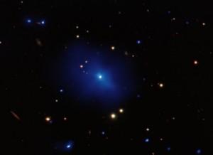 One of the most distant black holes we've yet observed: the quasar 3c186. [Credit: NASA/CXC/SAO/A.Siemiginowska et al. Optical: AURA/Gemini Obs.]