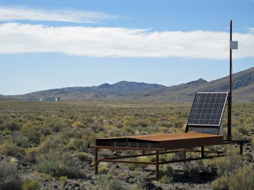 One of the 523 cosmic-ray detectors in the Telescope Array, located in the Utah desert. [Credit: John Matthews, University of Utah]
