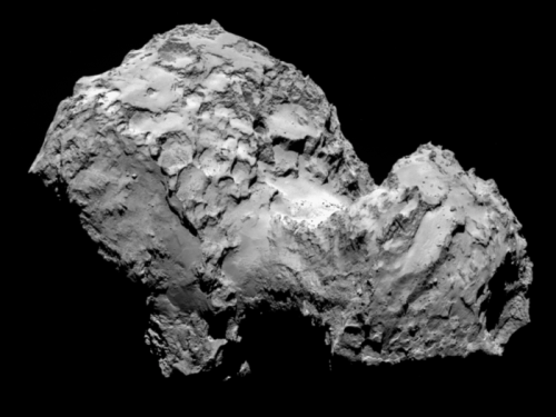 Comet 67P/Churyumov–Gerasimenko, as seen by the Rosetta spacecraft. [Credit: ESA/Rosetta/MPS for OSIRIS Team MPS/UPD/LAM/IAA/SSO/INTA/UPM/DASP/IDA]
