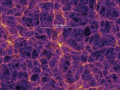 "The ""cosmic web"", from a computer simulation. The colors represent the distribution of dark matter, which clumps into knots and filaments. In between are large cosmic voids, which contain very little matter of any kind. [Credit: Volker Springel and the Virgo Consortium, Max Planck Institute for Astrophysics]"