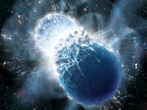 Artist's impression of two neutron stars colliding. [Credit: Dana Berry, SkyWorks Digital, Inc.]