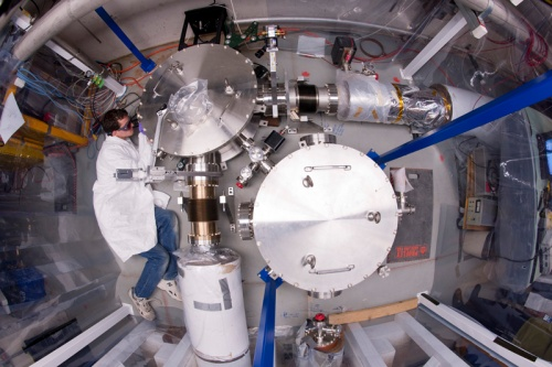 Construction of the Holometer, an experiment to test a hypothesis about the structure of spacetime on the microscopic scale. [Credit: Fermilab]