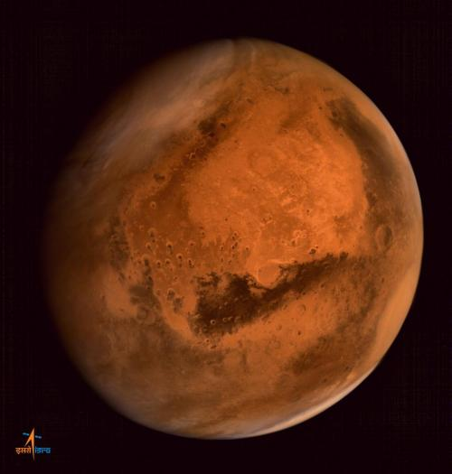 Mars, as seen by India's Mangalyaan orbiter. [Credit: Indian Space Research Organization]