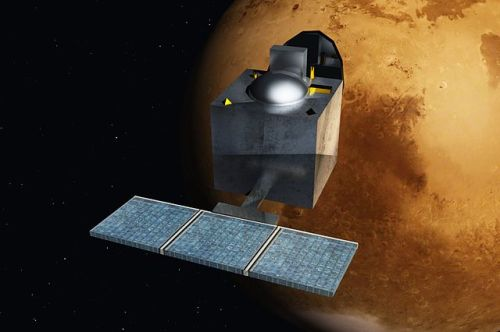 Artist's impression of the Mars Orbiter Mission, India's first probe to Mars. [Credit: Nesnad]