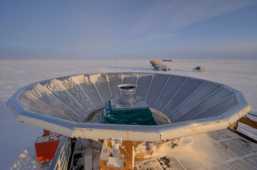 The BICEP2 telescope at the South Pole, designed to look for polarization of light that could be the sign of inflation. [Credit: Steffen Richter]