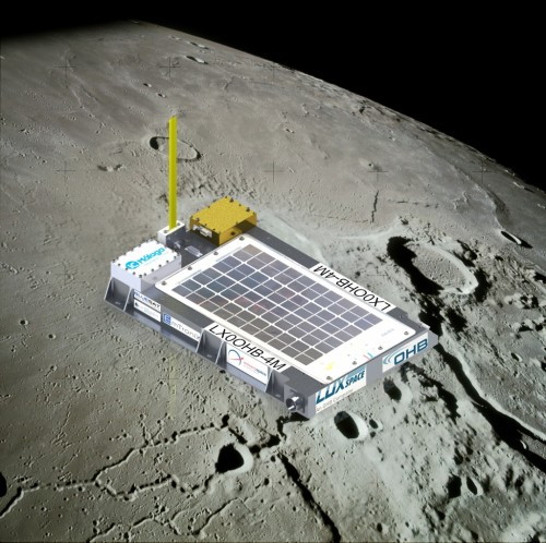 A model of the Manfred Memorial Moon Mission (4M), a communications experiment built by a privately-owned company in Luxembourg. [Credit: LuxSpace]