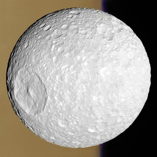 Saturn's Death Star moon, Mimas, as seen by the Cassini orbiter. [Credit: Cassini Imaging Team, ISS, JPL, ESA, NASA; Digital Processing: Supportstorm]
